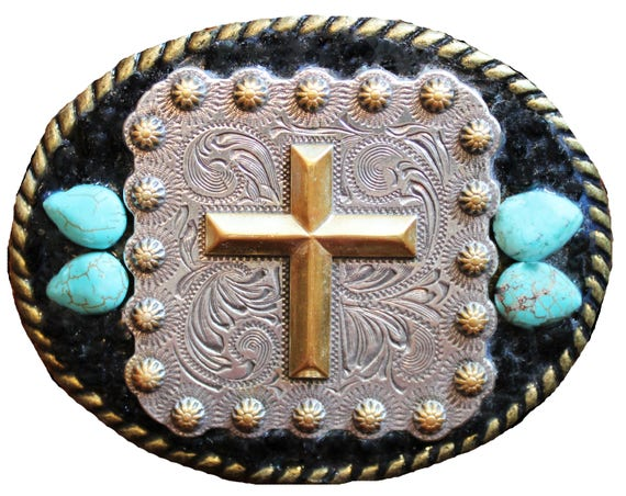 Western Concho Cross Belt Buckle with Turquoise Howlite and Obsidian Gemstones--Unisex