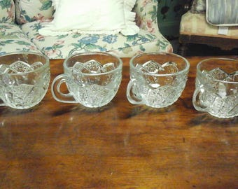 Vintage Set of 4 Pressed Glass Punch Cups
