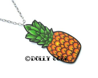 Pineapple Necklace - Hand Made by Dolly Cool Rockabilly 50s Tiki Tropical