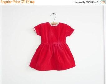 SALE // Vintage Red Velveteen Dress