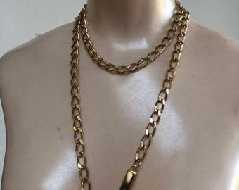 "Vintage polished goldtone twisted links chain belt, Ralph Lauren 38"" gold chain belt, mod style gold links waist chain"