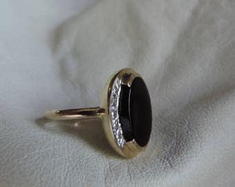 14k gold black onyx diamond ring