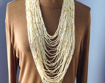 Vintage Multi-Strand Cream-Colored Glass Seed Bead Necklace - Statement Necklace - Runway Necklace - Huge Boho Artisan-Made - 40 Strands