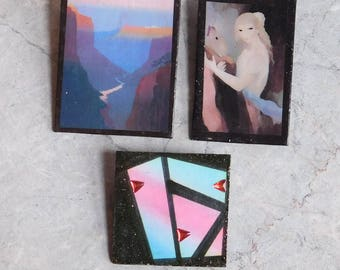 Lot of 3 Artisan-Made Wearable Art Brooches - 2 Lithographed Scenes, 1 Abstract Original Painting w/ Embellishments - Landscape, Portrait