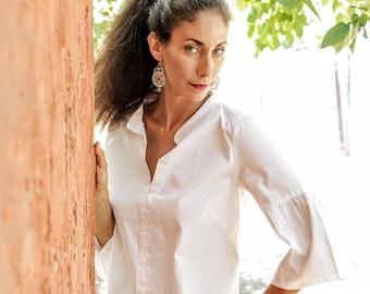 White  Ruffle top Size 3 M-  L   / White frill shirt / Women's Tailored shirt /  white cotton / Chinese collar/ Office wear / women's top
