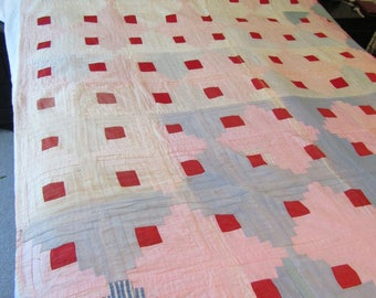 Vintage Log Cabin Quilt Hand Quilted not perfect