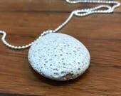 WHITE LAVA STONE, lava rock necklace, diffuser necklace, lava rock diffuser, lava bead necklace, pendant necklace, lava pendant, oval lava