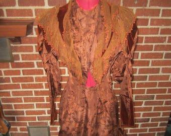 Antique Circa 1890 Victorian Extraordinary Silk Brocade and Velvet Dress in Amazing Condition