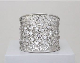 SALE Crystal bridal bracelet, Bridal jewelry, Wedding bracelet, Cuff bracelet, Swarovski bracelet, Wedding jewelry, Statement bracelet, Rose