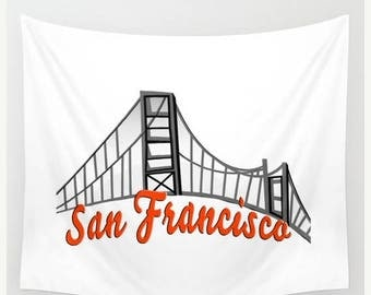 ON SALE San Francisco Wall Tapestry Hanging, California Tapestry Home Decor, Indoor Outdoor Tapestry, Dorm Room Tapestry for Boy's or Girl's