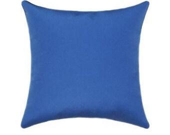 Outdoor Pillows, Sunbrella Throw Pillows, Capri Blue Outdoor Cushion, Sunbrella Canvas Capri Blue Outdoor Pillow - Free Ship