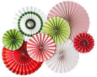 Christmas Holiday Party Fans - Party Paper Fans - Christmas Party Decor - Paper Lollies - Photo Backdrop - Birthday Party -Christmas HYP401