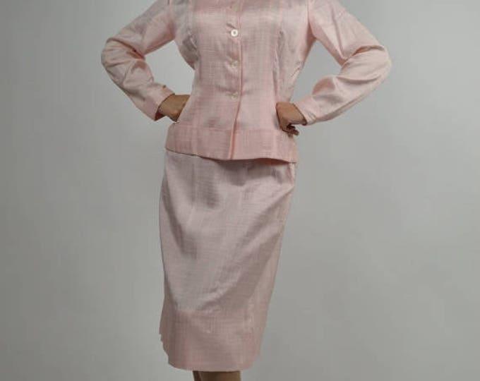 sale Vintage Suit, 40s Suit, Pink Suit, Pin-Up Suit, Spring Suit, 1940s Suit, Church Suit, Professional Suit, Bridesmaid Suit, Size Small