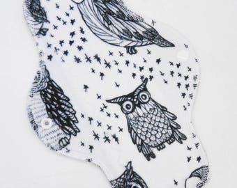 "10"" Moderate Cloth Pad, Minky Cloth Menstrual Pad, Owls Minky, Windpro Fleece, MotherMoonPads Day Pad, Light Incontinence Pad"