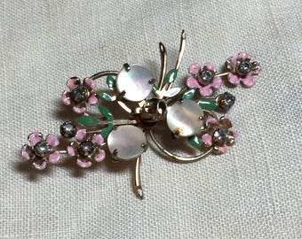 Vintage Flower Brooch or Pin with Pastel Flowers