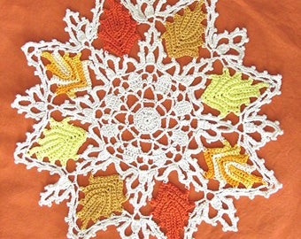 Autumn Leaves Fall Holiday Doily Hand Crocheted