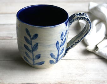 17 oz. Coffee Mug in Natural White and Navy Blue Glaze with Floral Motif Design Pottery Mug Made in USA Ready to Ship