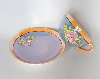 vintage lusterware tea cup and saucer, eggshell, Japan, hand painted, tea party