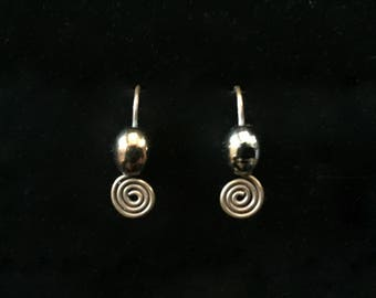 Beaded Spiral Earrings Oxidized Solid Copper with Oval Aurora Borealis Glass Bead