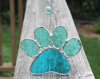 Aqua blue and Seafoam Green Paw Print Stained Glass Suncatcher