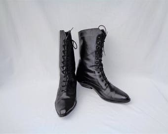 80s Black Leather Granny Boots size 7.5 to 8 Victorian Lace Up Boots Gothic Witchy