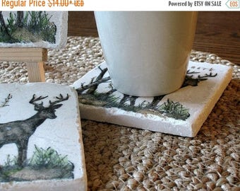 XMASINJULYSale Personalized Deer Drink Coasters - Rustic Cabin Decor - For Him