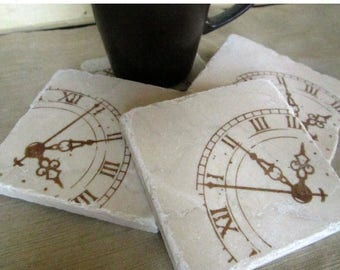 XMASINJULYSale Clock Drink Coasters - Masculine Home Decor - Father's Day Gift