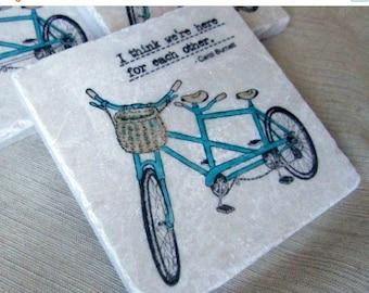 XMASINJULYSale Tandem Bike Drink Coasters - Bicycle Home Decor - Decorative Tiles