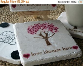 XMASINJULYSale Love Blooms Here Tile Coasters - Anniversary and Wedding Day Gift - Absorbent Coasters