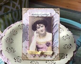 Handmade Birthday Card - Vintage Queen Card - Vintage Lady Card
