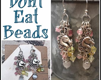 Pink and yellow unicorn earrings #17jul794
