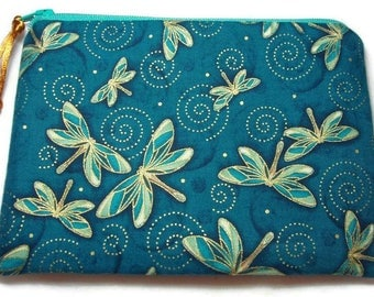 Padded Zipper Pouch Cosmetic Bag in Indigo Metallic Dragonfly Swirl Print