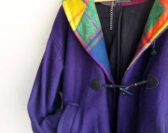 40% SUMMER SALE Wool Purple and Plaid Hooded Jacket