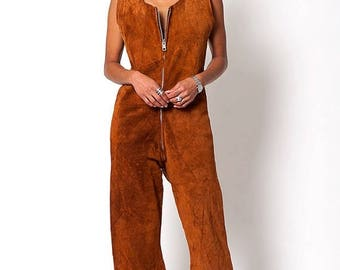 40% OFF CLEARANCE SALE The Vintage Suede Leather Culotte Jumpsuit