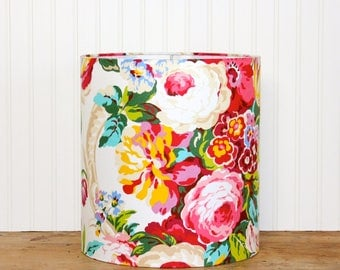 Cottage Style Floral Lamp Shade - Drum Shade - Shabby Chic - Girls Room Decor - Colorful Lamp Shade - Modern Chic - Pink Roses - SWEET!