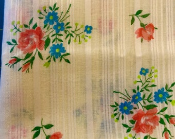 Pale yellow vintage floral print semi sheer polyester cotton blend twee fabric BY THE YARD