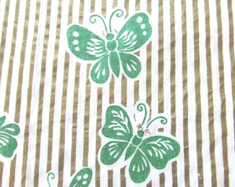 Linen Towel Green Butterflies Painted Gold Stripes