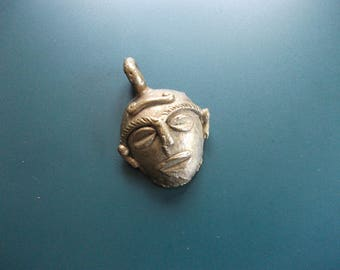 Vintage Brass Tribal Mask Face Pendant