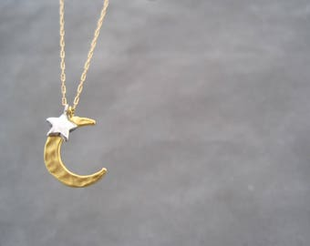 Crescent Moon and Star Necklace -  Golden Moon - Silver Star - Starry Night - Mixed Metal - Small Charm - Necklace -