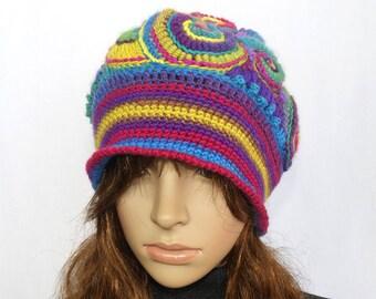 Rainbow Crochet Beanie Hat Beret, OOAK Freeform Crochet in Rainbow colours, Wearable Art