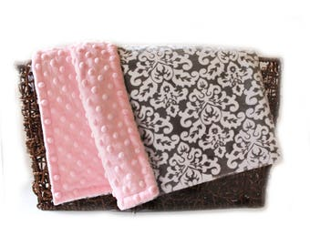 Minky Baby Blanket,  Personalized Damask White Pink Gray Girl - Nursery Decor Girl // Name Baby Blanket // Baby Gift / Damask Blanket