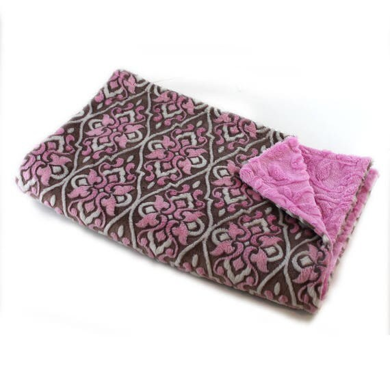 Pink Brown Floral Blanket / Minky Baby Blanket Girl, Flower Blanket // 29 x 35 in Ready to Ship