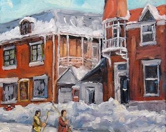 On Sale Faubourg à m'lasse Montreal - Joys of Winter by Prankearts - mini Original Oil Painting