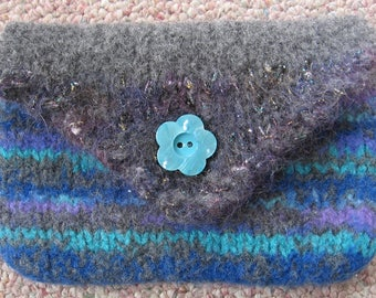 Coin Purse Blue gray purple Wool Hand Knitted Felted