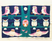 Vintage Tea Towel Owls Tree Full Moon Wall Hanging Decor Ulster Textile Rare