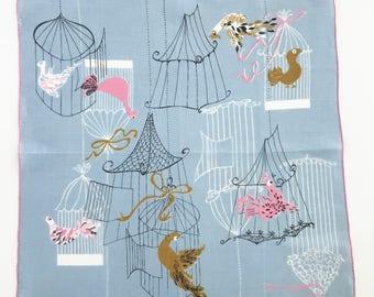 Vintage Handkerchief Birds Birdcages Pat Prichard Blue Hankie