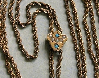 Antique Victorian 10K Gold Slide With Seed Pearls and Turquoise and Gold Filled Chain, Old Slide Chain, 10K Gold Slide With Pearls (#3377)