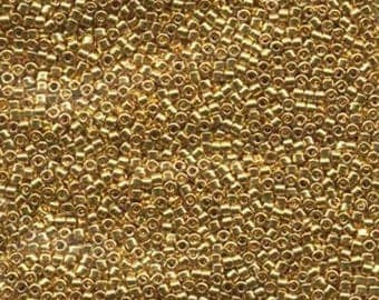 DB031 - Miyuki Delica 11/0 Seed Beads, 1.25g -24K Gold Plated, Transparent AB
