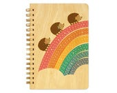Marching Hedgehogs Pocket-Size Notebook - Hedgehog Notepad - Hedgehog Journal - Real Birch Wood Notebook - J1764