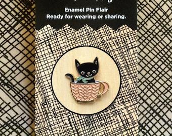 Coffee Kitty Pin - Lapel Pin - Gold Enamel Pin - Shiny Gold Metal - Kawaii Flair Pin - Cat Lover - Coffee Lover - EP2091